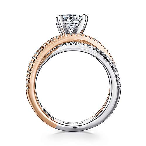 14k White And Rose Gold Round Twisted Engagement Ring angle 2