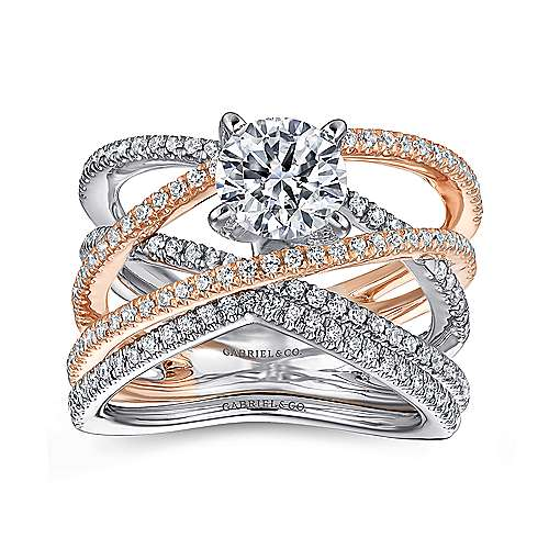 14k White And Rose Gold Round Twisted Engagement Ring angle 4
