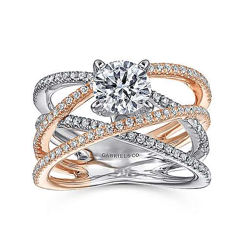 14k White And Rose Gold Round Twisted Engagement Ring angle 5