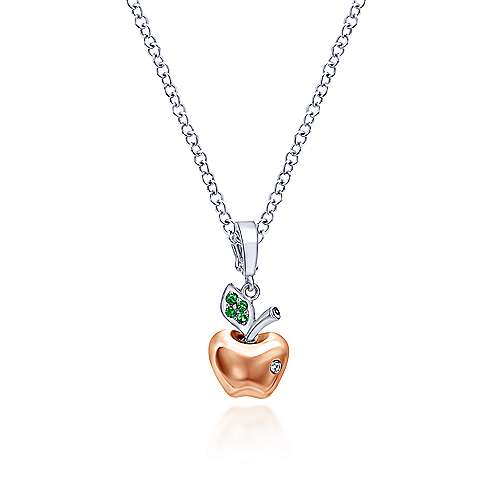 14k White And Rose Gold Treasure Chests Charm Pendant angle 3