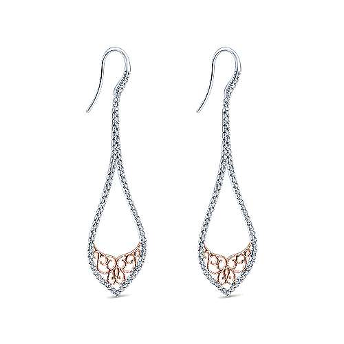 14k White And Rose Gold Victorian Drop Earrings angle 2