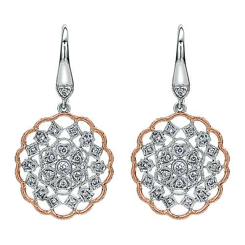 Gabriel - 14k White And Rose Gold Victorian Drop Earrings