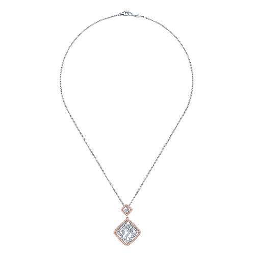 14k White And Rose Gold Victorian Fashion Necklace angle 2