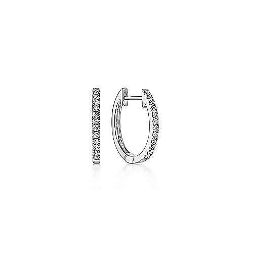 14k White Gold 10mm Classic Diamond Huggie Earrings