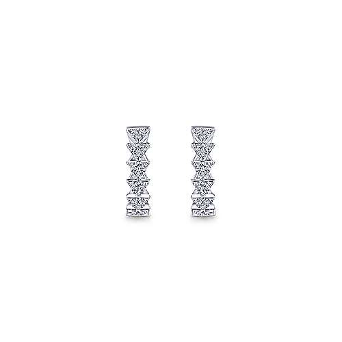 14k White Gold 10mm Stacked Triangle Diamond Huggie Earrings