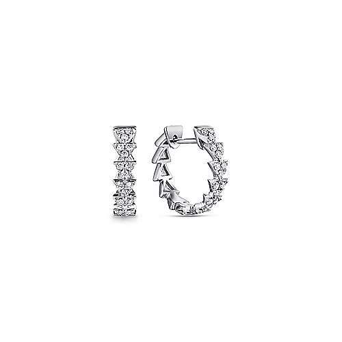 14k White Gold 10mm Stacked Triangle Diamond Huggies