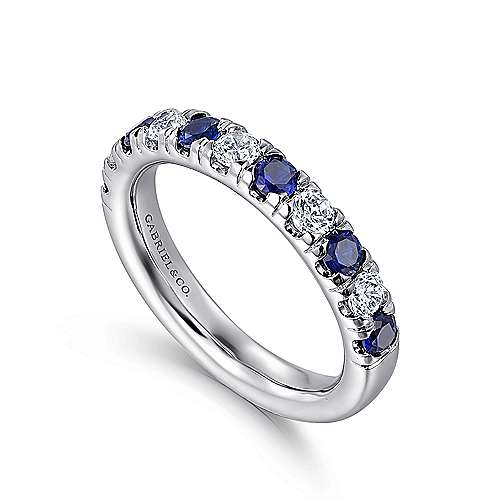 14k White Gold 11 Stone Diamond and Sapphire Anniversary Band