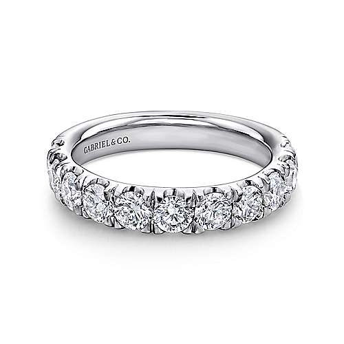 14k White Gold 11 Stone French Pavé Set Band