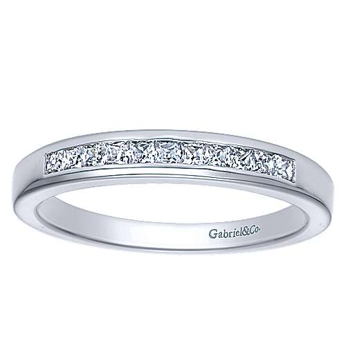 14k White Gold 11 Stone Princess Cut Channel Set Band