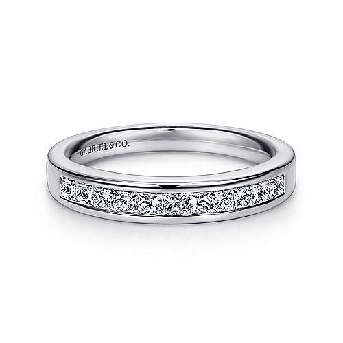Gabriel - 14k White Gold 11 Stone Princess Cut Channel Set Band