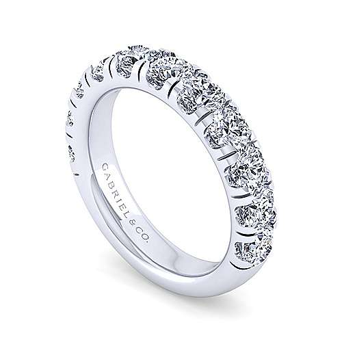 14k White Gold 11 Stone Prong Set Band