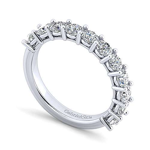 14k White Gold 11 Stone Shared Prong Set Anniversary Band