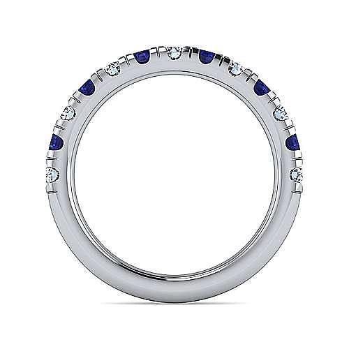 14k White Gold 13 Stone Diamond and Sapphire Anniversary Band