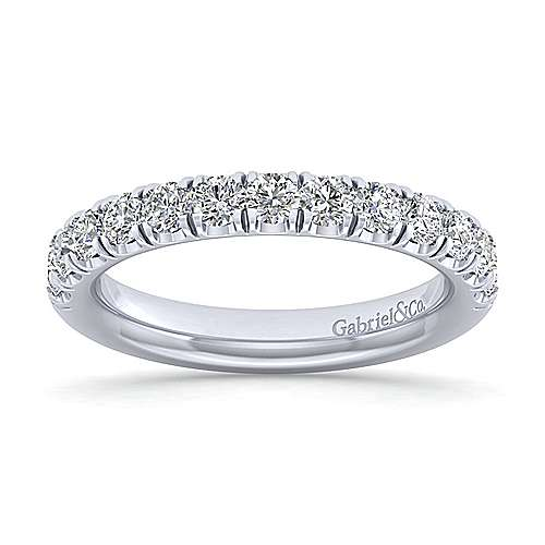 14k White Gold 13 Stone French Pavé Set Anniversary Band