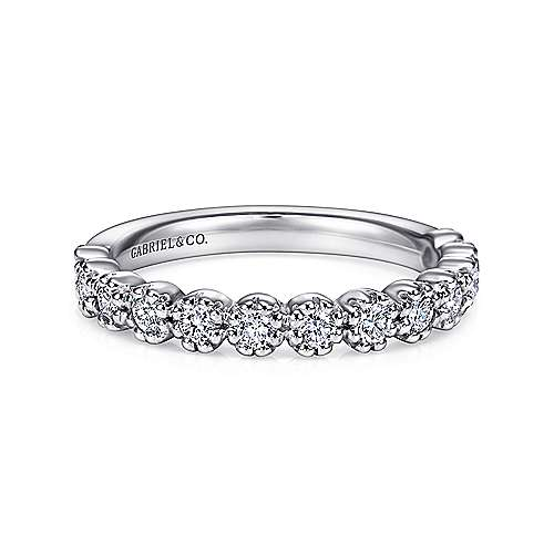 14k White Gold 13 Stone Prong Set Band