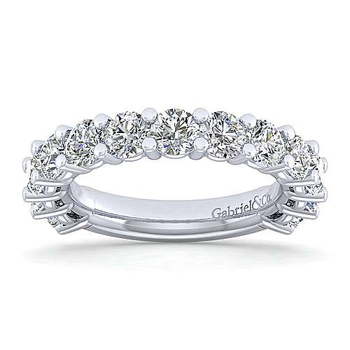 14k White Gold 13 Stone Shared Prong Band