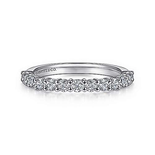 14k White Gold 13 Stone Shared Prong Set Anniversary Band