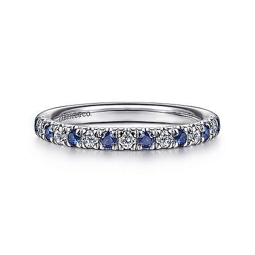 Gabriel - 14k White Gold 15 Stone Diamond and Sapphire Anniversary Band