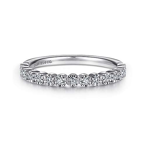 Gabriel - 14k White Gold 15 Stone Prong Set Band