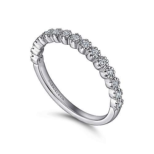 14k White Gold 15 Stone Prong Set Band
