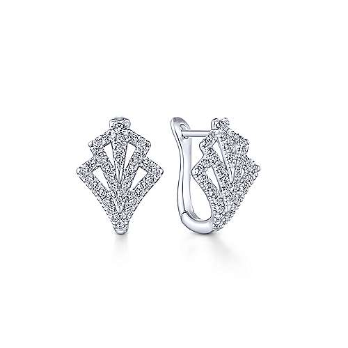 14k White Gold 15mm Cutout Diamond Fan Huggie Earrings