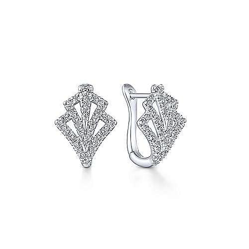 Gabriel - 14k White Gold 15mm Cutout Diamond Fan Huggie Earrings