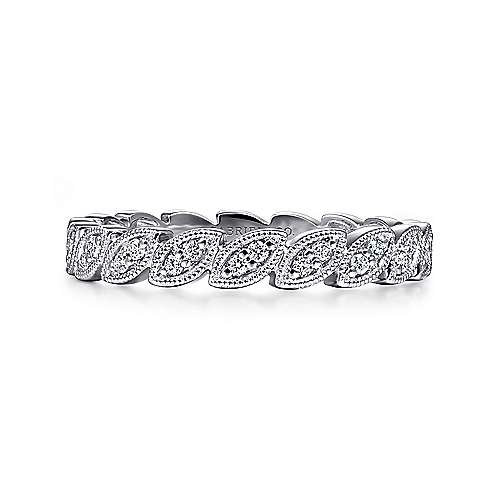 Gabriel - 14k White Gold .18 ct Diamond Stackable Ladies Ring