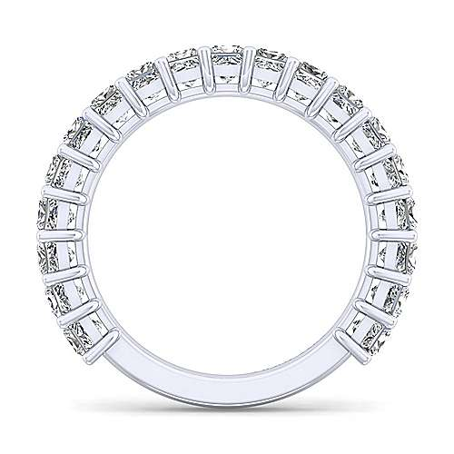 14k White Gold 19 Stone Princess Cut Shared Prong Band