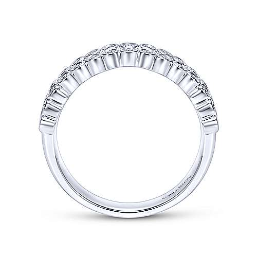 14k White Gold 2 Row Bezel Set Anniversary Band