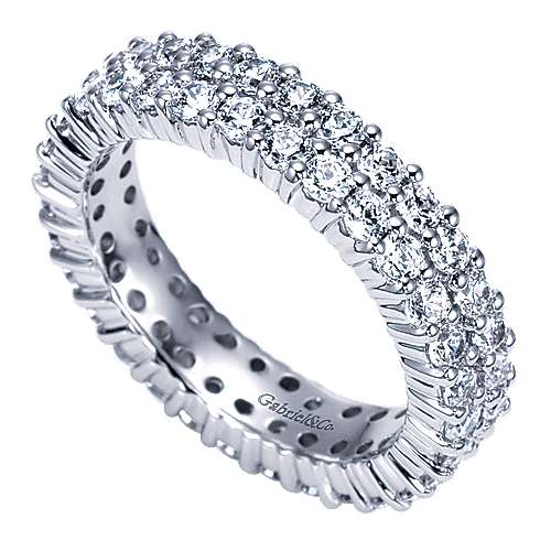 14k White Gold 2 Row Shared Prong Eternity Band