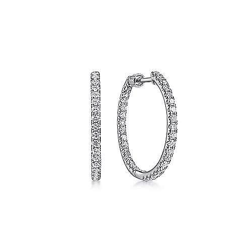 Gabriel - 14k White Gold 20MM Inside Out Clasped Diamond Hoop Earrings