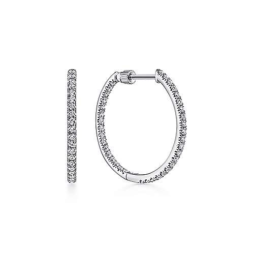 Gabriel - 14k White Gold 20MM Inside Out Scalloped Diamond Hoop Earrings