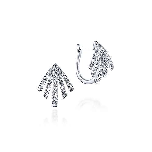 14k White Gold 20mm Fringe Fan Diamond Huggie Earrings