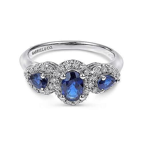 14k White Gold 3 Stone Sapphire & Pave Diamond Fashion Ring