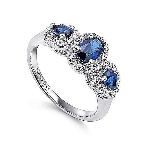 14k White Gold 3 Stone Sapphire and Pavé Diamond Halo Ring