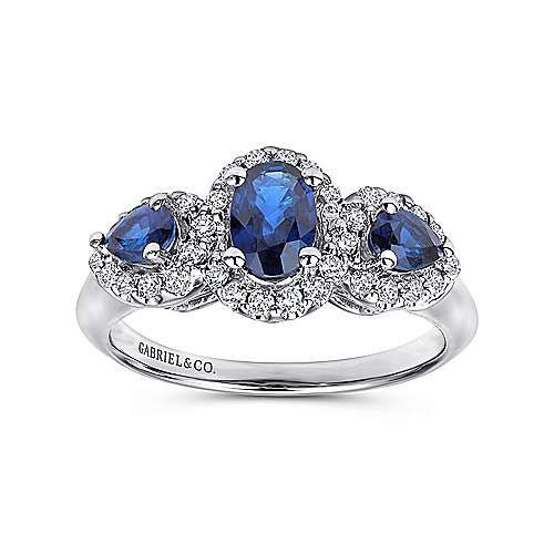 14k White Gold 3 Stone Sapphire and Pavé Diamond Halo Ring