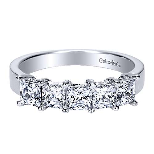 Gabriel - 14k White Gold 5 Stone Princess Cut Shared Prong Band