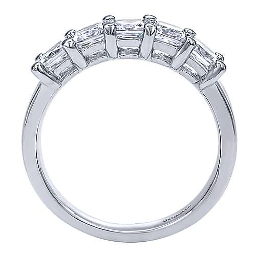 14k White Gold 5 Stone Princess Cut Shared Prong Band