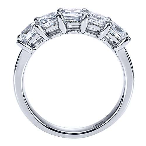 14k White Gold 5 Stone Princess Cut Shared Prong Band