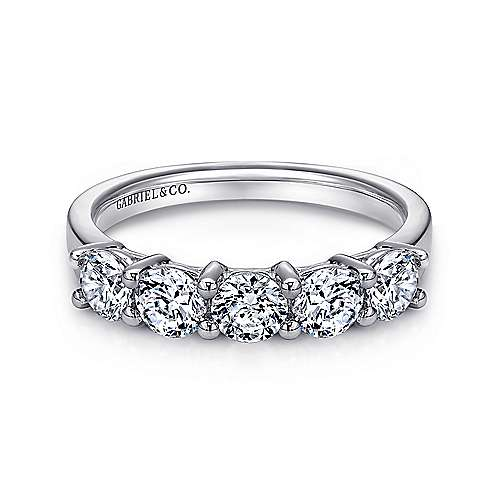Gabriel - 14k White Gold 5 Stone Shared Prong Band
