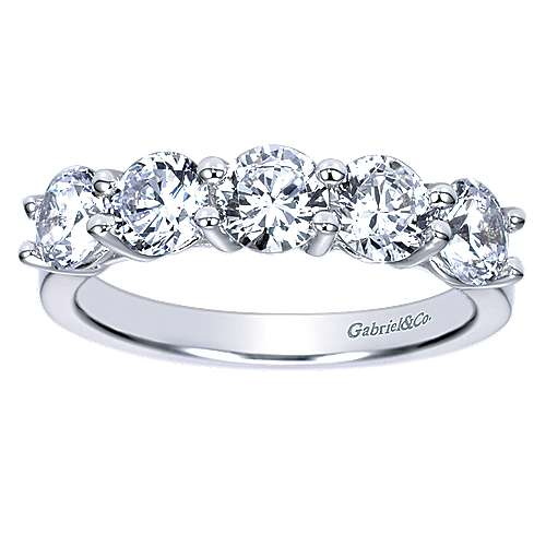14k White Gold 5 Stone Shared Prong Band