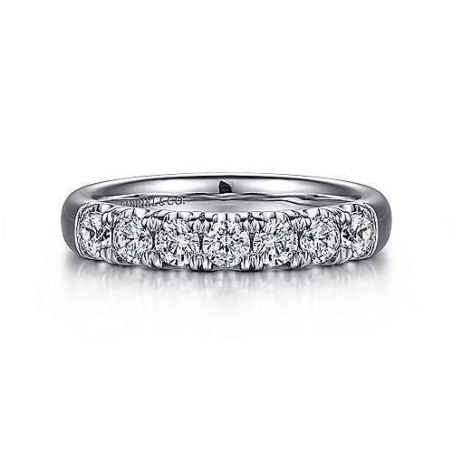 Gabriel - 14k White Gold 7 Stone French Pavé Set Band