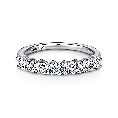 Gabriel - 14k White Gold 7 Stone Shared Prong Band