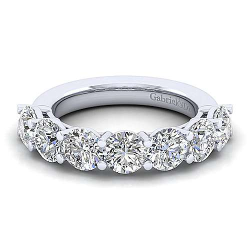 14k White Gold 7 Stone Shared Prong Set Anniversary Band