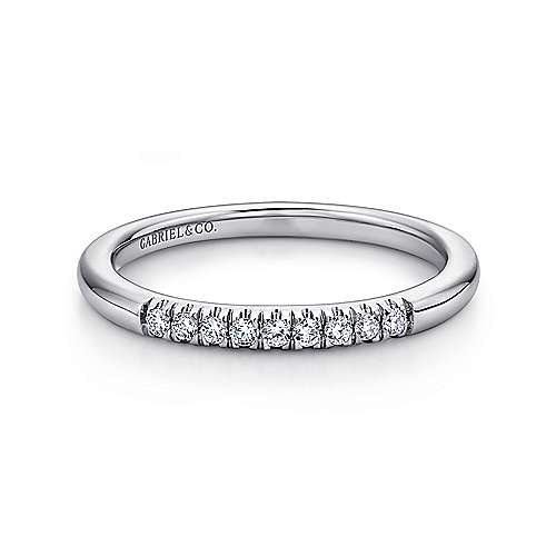 Gabriel - 14k White Gold 9 Stone French Pavé Set Band