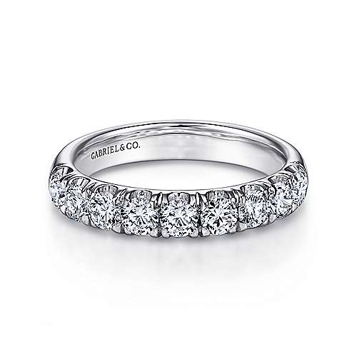 14k White Gold 9 Stone French Pavé Set Band