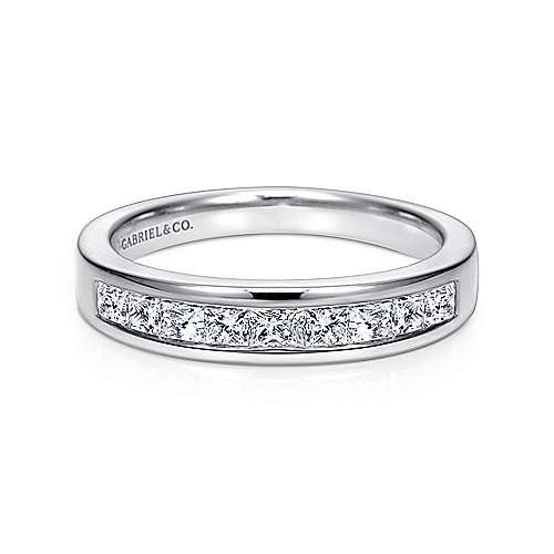 Gabriel - 14k White Gold 9 Stone Princess Cut Channel Set Band