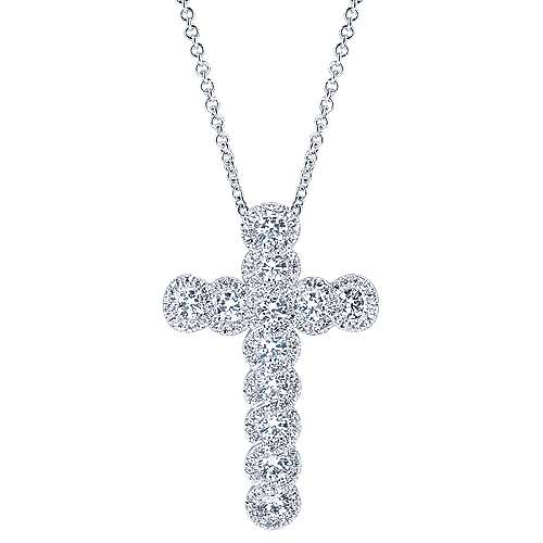 14k White Gold Allure Cross Necklace angle 1