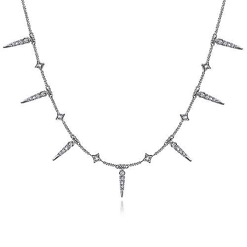 Gabriel - 14k White Gold Alternating Diamond Spike Fashion Necklace