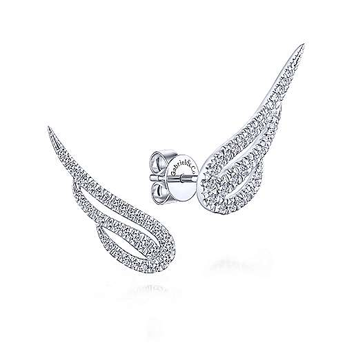 14k White Gold Angel Wing Diamond Stud Earrings